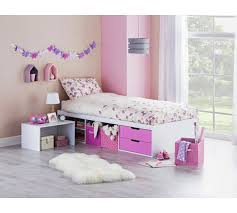buy home callum cabin and pullout desk bed frame pink at argos