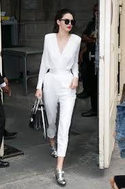 kendall jenner jumpsuit kendall jenner swaps chanel wedding suit for matching plunging
