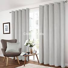 savoy silver eyelet curtains chiltern mills