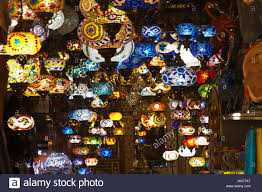 arabian colorful lamps lights traditional tourist souvenirs stall
