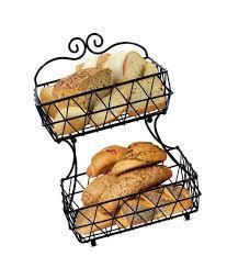 metal fruit basket 2 tier metal wire basket stand bread fruit storage countertop