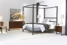orson graphite queen metal canopy bed living spaces