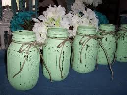 Mason Jar Vases Wedding Mason Jar Vases Painted Mint Green Weddings Decorations