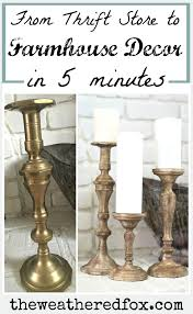 turn inexpensve thrifted candlesticks into gorgeous wood farmhouse