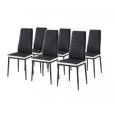 chaise noir et blanc lot de 6 chaises simili noir blanc design