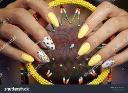 natural nails beautiful nail art you stock photo 487650487