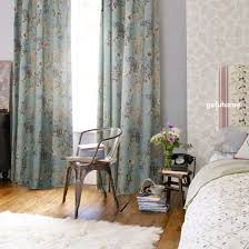 baby blue floral shabby chic curtains