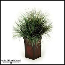 42in burgundy green grass in square metal planter