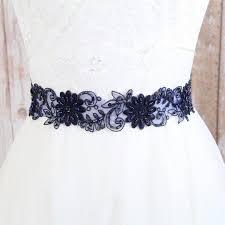 navy lace ribbon navy beaded lace with navy satin ribbon sash bridal sash