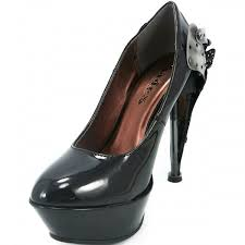 eifel steampunk black platform pump with riveted heel gothic shoes