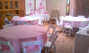 baby shower chair covers tables chairs pink linens baby shower royalty rentals