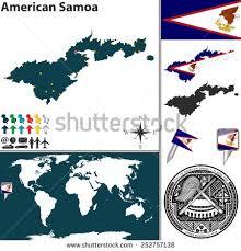 samoa in world map vector map american samoa coat arms stock vector 252757138