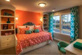 Turquoise And Orange Bedroom Bring Beach In The Shade Of Coral And Turquoise In Your Bedroom