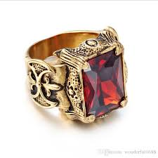 gothic ruby rings images 2018 new men 39 s red gem ring jewelry 18 k gold vintage punk gothic jpg
