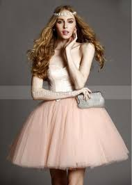 blush pink tulle lace sweetheart neckline short prom dress