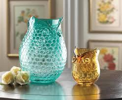 wholesale blue owl art glass vase aqua glass owl design vase