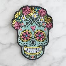 dia de los muertos sugar skulls sugar skull iron on patch patches embroidered applique