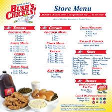 menu bush s chicken