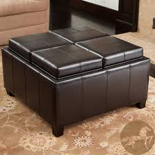 leather tray top ottoman christopher knight home mason bonded leather espresso tray top