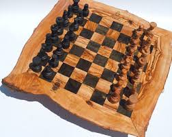 wood chess set etsy