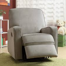 colton gray fabric modern nursery swivel glider recliner chair