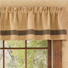 Black Curtains With Valance Country Straight Valance Curtains Burlap U0026 Check Black 72