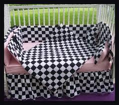 Race Car Crib Bedding Set by Checkered Flag Crib Bedding Set W Pink Accent Fabric