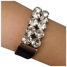 black leather crystal bracelet images Swarovski crystal rhinestones on black leather cuff bracelet jpg