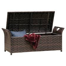 wing wicker patio storage bench multi brown christopher knight