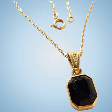 gold necklace fine jewelry images Antique onyx pendant 18k solid gold chain stamped gold necklace jpg