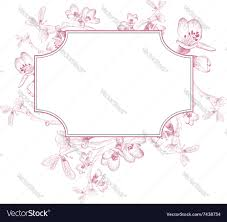 vintage border of spring cherry blossom royalty free vector