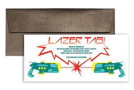 laser tag party event birthday invitations 9x4 in horizontal