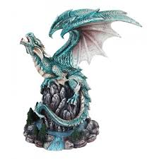 Home Decor Figurines Blue Water Dragon Statue 9 Inch Cold Cast Resin Detailed Dragon Art
