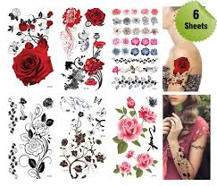 amazon com supperb mix flower temporary tattoos 6 pack beauty