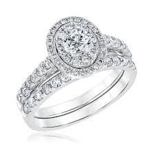diamond bridal sets ellaura timeless gold oval halo diamond bridal set 1 1 2ctw