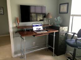 Diy Stand Up Desk Standing Desk With Shelf Desk Pinterest Desks Shelves And
