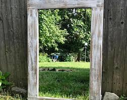 Wood Bathroom Mirror by Whitewashed Mirror Etsy