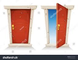 Red Door Red Door Open Closed Illustration Cartoon Entry Stock Vector