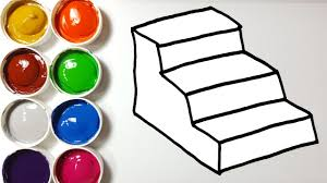 how to draw rainbow stairs coloring pages learn colors for kids