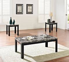 picture of black faux marble coffee table set