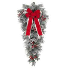 christmas wreaths and garland at the home depot 32 in unlit snowy pine teardrop with gray striped and red