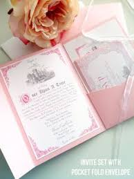 fairytale wedding invitations blush pink pocket fold wedding invitation fairytale