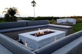 Contemporary Firepit Rectangular Pit Patio Mediterranean With Decorative Pillows