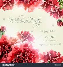 Invitation Card Background Design Invitation Card Watercolor Carnation Frame Wedding Stock Vector