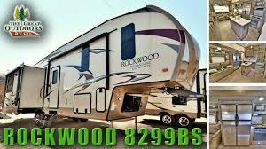 new 2018 rockwood 8299bs rear living room island kitchen fifth