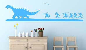 wall decals stickers home decor home furniture diy pre historic dinosaur cavemen hunting natural landscape wall sticker decal art