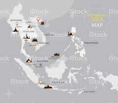 East And Southeast Asia Map by Southeast Asia Map With Country And Capital Location Stock Vector