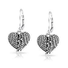 angel wing earrings oxidized angel wing heart stering silver leverback earrings