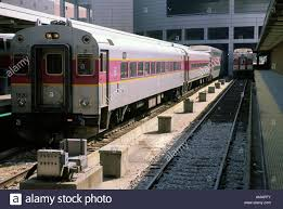 Train In Boston Map by Commuter Trains Idle On The Track At South Station In Boston Stock