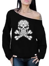 skull the shoulder tops sweatshirt sugar skull crossed bones